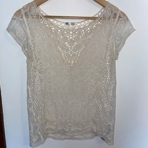 2/$20! GRG - Lace and Crochet Sheer Top